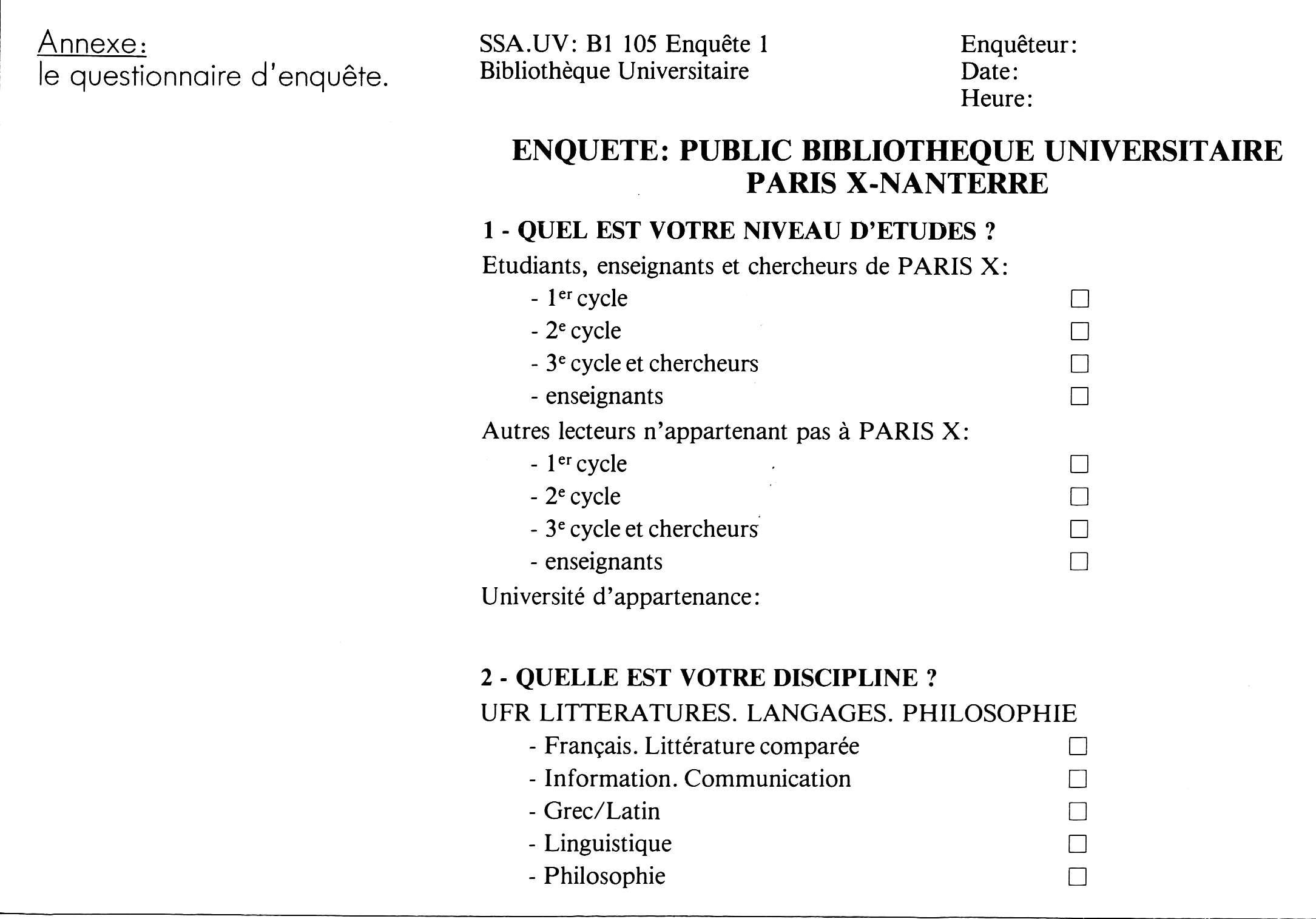 Public de la bibliothèque universitaire de Paris X ...