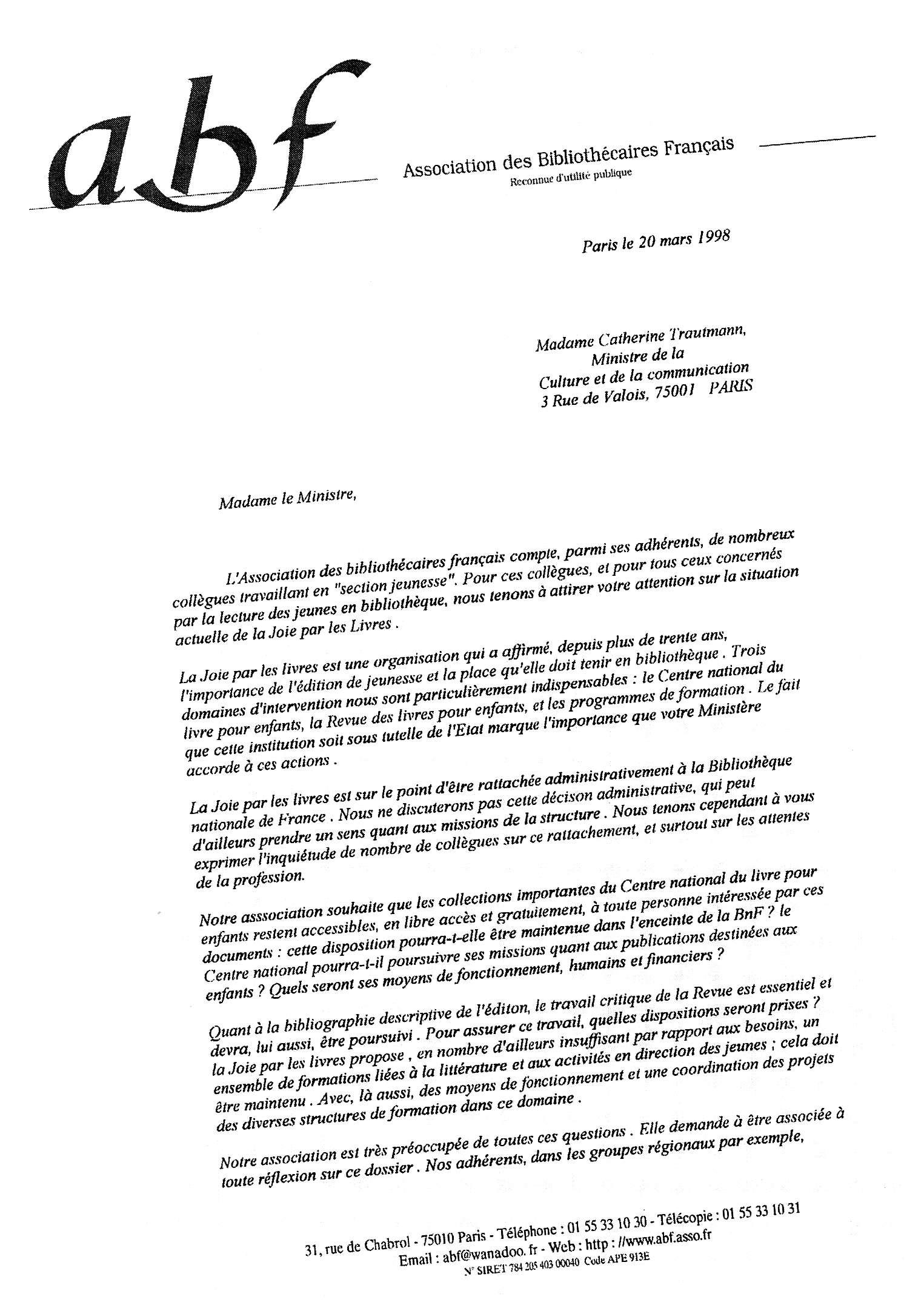 lettre  u00e0 madame le ministre de la culture